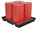 Pallet для локализации пролива для 4 вертикальных бочек